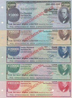 """Japan: 1980 Thomas Cook & Mitsui Bank RARE SET 5 """"SPECIMEN"""" TRAVELLERS CHEQUES"""