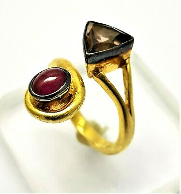 Faceted Smoky Topaz & Ruby Gemstone Jewelry 925 Sterling Silver Handmade Ring