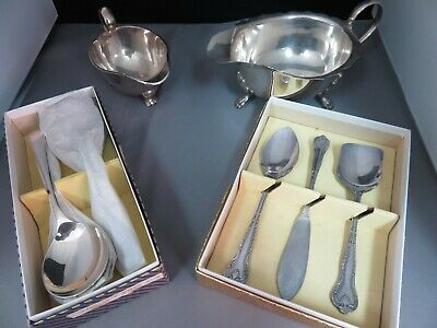 Vintage Silver Plated Gravy Sauce Boats, Preserve Set and Soup Spoons.