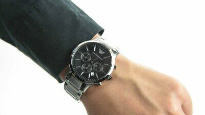 New Genuine Emporio Armani Ar2434 Stainless Steel Black Dial Mens Watch Uk Gift