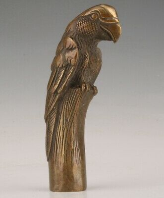 Rare Chinese Bronze Hand-Carved Parrot Statue Walking Stick Old Collection