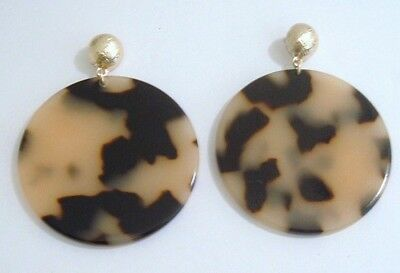 "Faux Blonde Tortoise Turtle Shell 2 1/4"" Round Disc Dangly Gold Pierced Earrings"