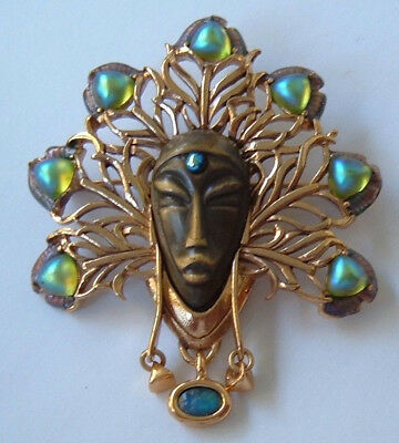 Vintage Signed Brooch Exotic Face Real Opal Peacock Blue Frost Glass Art Nouveau