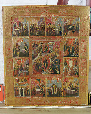 RUSSISCHE IKONE ANTIK LEBEN JESUS CHRISTUS old russian feast icon Life Christ 12