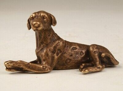 Rare Chinese Bronze Hand-Carved Dog Animal Statue Figurine Old Collection