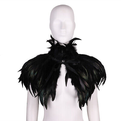 Gothic Victorian Natural Feather Cape Shawl Stole Poncho Wrap with Choker Collar