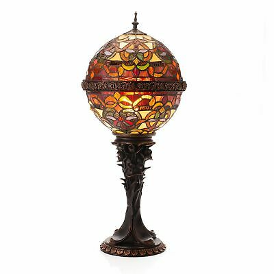 "Tiffany-Style Empress Orb 27"" Stained Glass Table Lamp Spice"