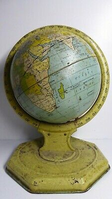 Antique Metal World Globe - French Tin Globe