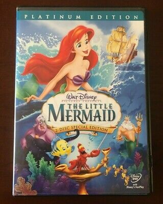 Walt Disney's THE LITTLE MERMAID 2-Disc Platinum Edition DVD Ariel Sebastian ++