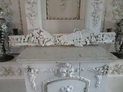 AWESOME Shabby Old Architectural FRAGMENT Gesso on Wood WHITE Roses Details