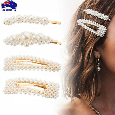 Women Girl Pearl Flower Hair Clip Snap Barrette Stick Pin Hair Accessories Party