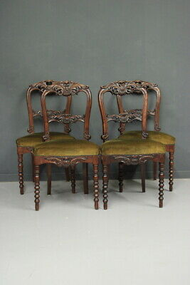 Group of Four Chairs Charles x / Chairs Wooden Walnut/Furniture Years' 800