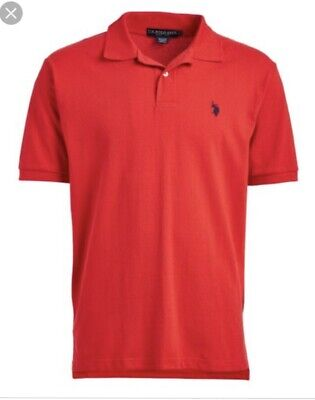 US Polo Assn Men's Large Short Sleeve Shirt, Pique Style Fabric, Red