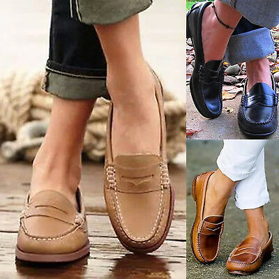 Womens Ladies Soft Leather Work Casual Ballet Slip On Loafers Flats Shoes Size