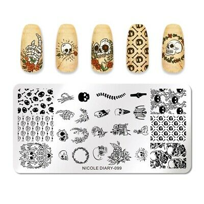 NICOLE DIARY Nail Stamping Plate Bone Skull Patterns Nail Art Image Template 099