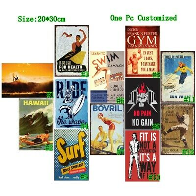 Surf Vintage Metal Tin Signs Retro Ride the Wave Plate Art Wall Decor Poster