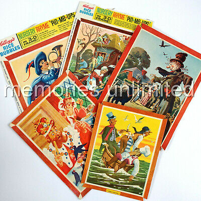 1960s Kellogg's RICE BUBBLES NURSERY RHYME PIN-ME-UPS LOT OF 5 PANELS/CUT-OUTS