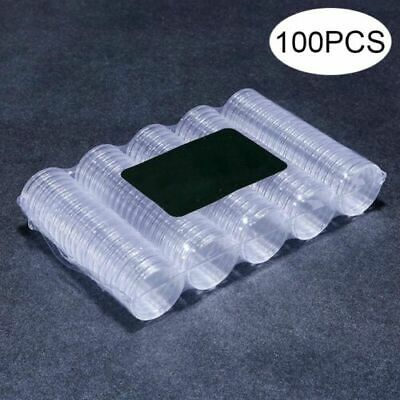 100PCS 27mm Coin Case Capsules Holder Applied Clear Plastic Round Storage Box