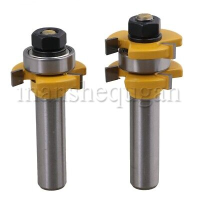 "2Pcs Tongue & Groove Router Bit 1/2"" Shank Dia Tool for Woodworking"