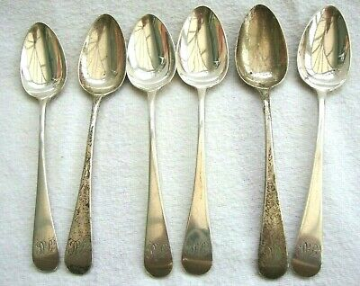Antique George Iii Sterling Solid Silver Set Six Tea Spoons Sovereign Head Mark