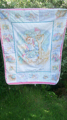 "Beatrix Potter Peter Rabbit Child Baby Cot Bed Quilt Mothercare 37 x 46"" Bargain"
