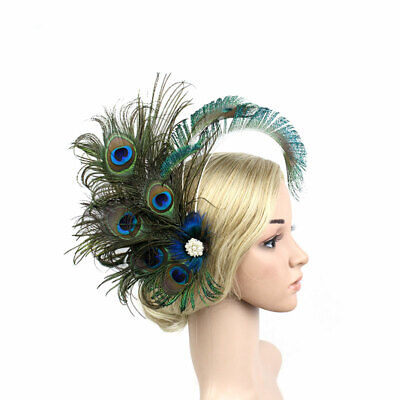 Fascinator Women Hat Handmade Peacock Feather Clip Wedding Party Bridal Hairpin