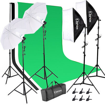 Photography Studio Muslin Backdrop Softbox Umbrella Lighting Kit 4x 135W Bulb