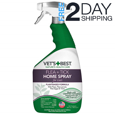 Vet's Best Flea and Tick Home Spray for Cats, Certified Natural Oils, 32oz