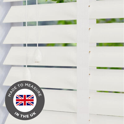 Real Wood Blind White Wooden Venetian Blinds Made To Measure 50mm Taped
