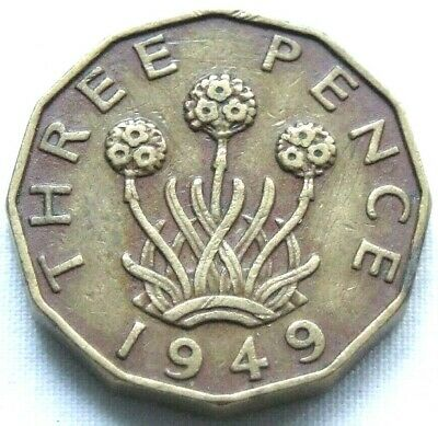 1949 Brass Threepence; Rare Date - Collectable Condition - FREE POSTAGE (140C)