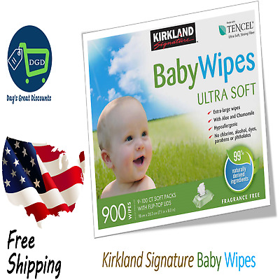 Kirkland Signature Baby Wipes 900 count Aloe Chamomile Hypoallergenic X Large