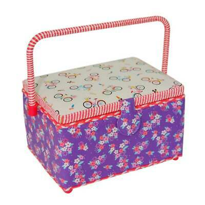 Medium Sewing Box with Removal Tray, Built in Pincushion, & Storage Pocket