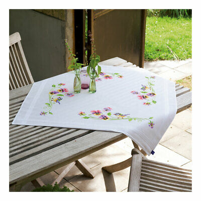 Embroidery Kit Tablecloth Birds & Pansies Design Stitched on Ecru Size 80 x 80cm