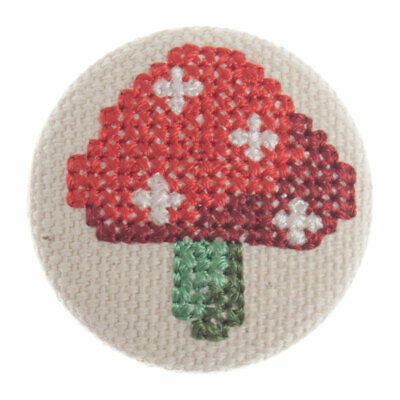 Impex Woodland Embroidered Toadstool Fabric Covered Buttons G442632\0-M