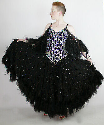 c31520f32 Professional Ballroom Dancing Dress Gown Costume Black Feathers Sequins M