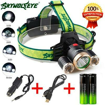 Sky Wolf Eye T6 LED Headlamp Rechargeable 50000LM Zoomable Headlight 18650 Torch