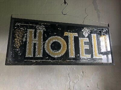 "19thC Antique French Glass ""HOTEL"" Sign. Metal Frame. Double Sided."
