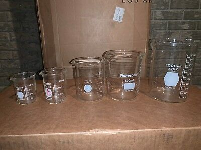 Five Assorted PYREX Beakers Lab Glassware Chemistry Bio Analytical Lot mL