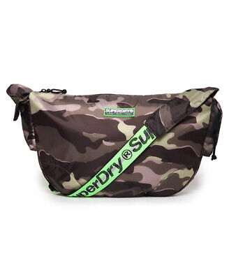 New Mens Superdry Damon Side Messenger Bag Army Green Camo