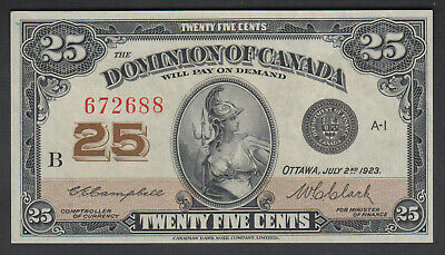 1923 Dominion Of Canada 25 Cents Bank Note Campbell