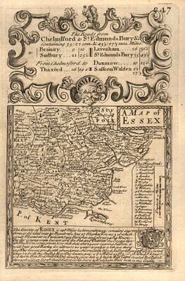 'A Map of Essex'. County map by J. OWEN & E. BOWEN 1753 old antique chart