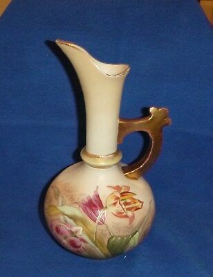 Porcelain Ewer, Robert Hanke, Antique, Bohemian, Gilded Flowers Butterfly c 1900