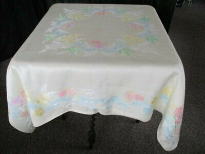 "VINTAGE DAMASK TABLECLOTH - UNUSED - 54""sq."