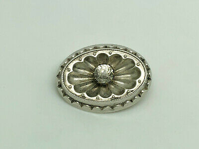 Gorgeous Antique Victorian Sterling Silver Paste Ornate Oval Brooch