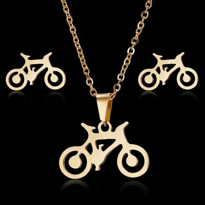 Fashion Bicycle Hollow Women Gold Earrings Ear Stud Pendant Necklace Jewelry Set