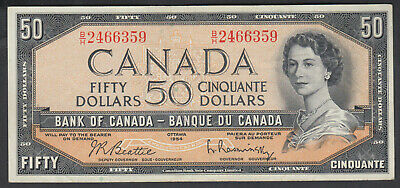 1954 Bank Of Canada Devil's Face 50 Dollars Bank Note Beattie-Rasminsky