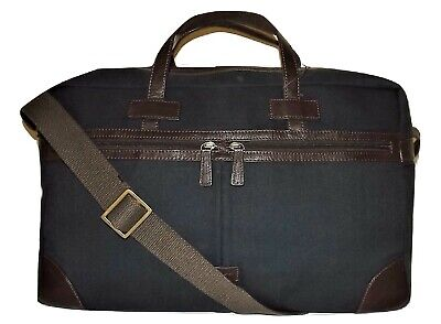 "New Scully Canvas & Leather 19"" Carry-On Cabin Duffel Luggage Navy"