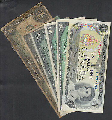 1923-73 Dominion + Bank Of Canada 1 Dollar Bank Notes Lot Of 6