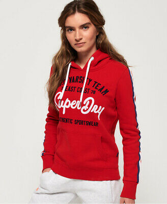 New Womens Superdry NYC Varsity Embroidery Hoodie Rich Scarlet