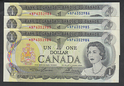 1973 Bank Of Canada Replacement 1 Dollar Bank Notes *Np Lot Of 3 Consecutive